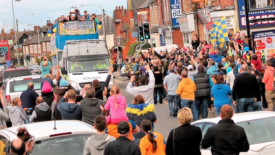 Thousands turned out to celebrate Mansfield's promotion