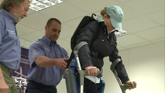 Claire Lomas has been training at a clinic in Hull