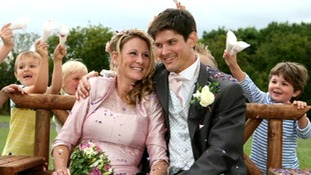 Claire Lomas and husband Dan on their wedding day