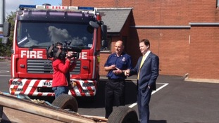 Deputy Prime Minister Nick Clegg visits Devon & Somerset Fire & Rescue Service in Taunton