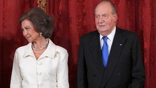 Spain's Queen Sofia and King Juan Carlos at Royal Palace.
