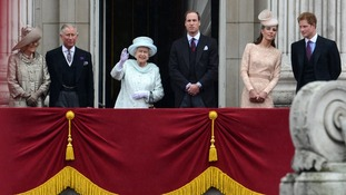 The British Royal Family on the balcony of Buckingham Palace for the Queen's Diamond Jubilee.