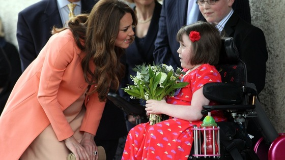 The Duchess of Cambridge meets Sally Evans, eight, from Salisbury