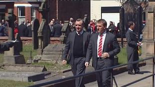 Brendan Rodgers arriving at the service in Formby.