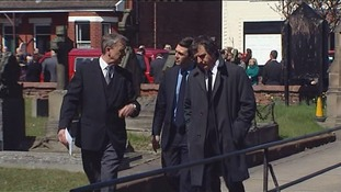 Andy Burnham MP and Steve Rotheram MP enter the church