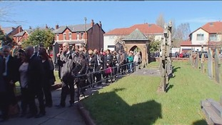 Hundreds of mourners attended the service in Formby, Merseyside.