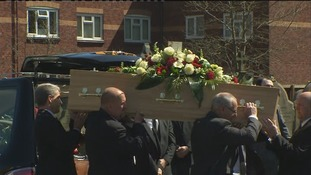 Anne William's coffin is carried into the church
