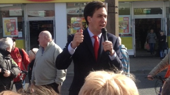 Ed Miliband, Leader of the Labour Party, speaking to the public in Cleveleys