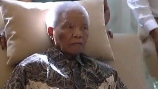 This is the first time Nelson Mandela has been seen since he was discharged from hospital.