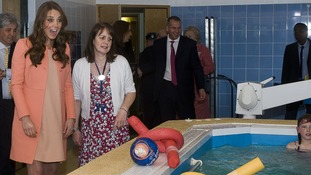The Duchess of Cambridge meeting children and staff in the hydrotherapy pool