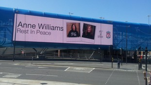 Billboard photo saying Anne Williams Rest in Peace