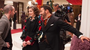 Jeremy Piven and Aisling Loftus on the set of the second series of Mr Selfridge