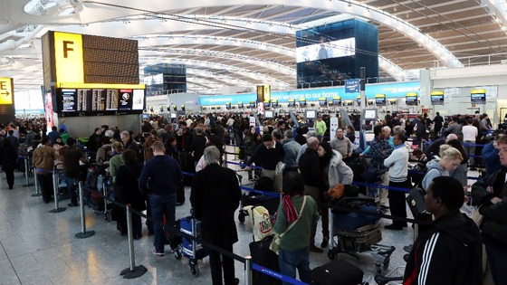 Passengers queueing at Heathrow&#x27;s Terminal 5