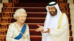 Sheikh Khalifa Bin Zayed al Nahyan welcomes the Queen on a visit to Abu Dhabi in November 2010