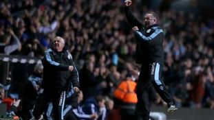 Aston Villa manager Paul Lambert (right) celebrates with assistant mananger Ian Culverhouse on the touchline after Andreas Weimann scores