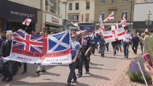 EDL supporters protest on the streets of Dewsbury.