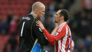 Stoke City's goal scorer Matthew Etherington and Norwich City's keeper John Ruddy shake hand at the end of the game