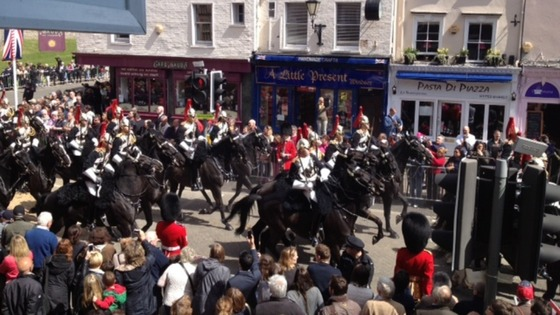 Horseguards marching down the street in Windsor