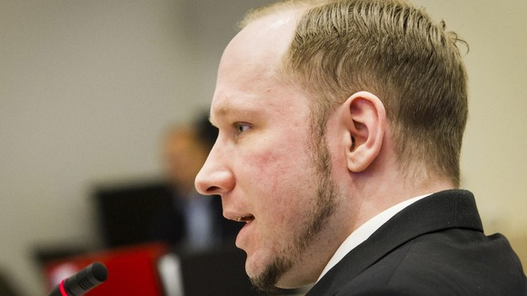 Anders Behring Breivik seen during the fourth day of proceedings in courtroom in Oslo
