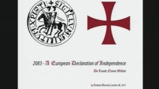 Front page of Anders Breivik's a manifesto for right-wing extremist group 'Knights Templar'