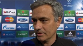 Jose Mourinho talks to Gabriel Clarke after the 4-3 aggregate loss in Madrid