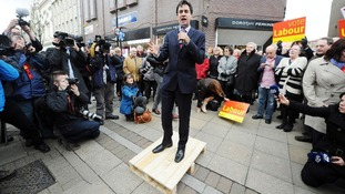 Labour Leader Ed Miliband takes to a pallet to talk to the residents of South Shields