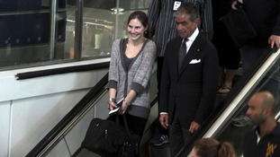 Amanda Knox at Leonardo Da Vinci airport in Fiumicino returning home to the US