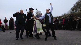 Dancers celebrating May Day at Blue Bell Hill