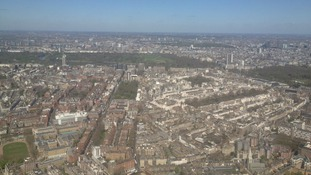 Aerial view over London