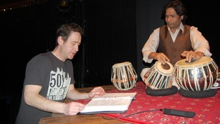 Jonathan Girling works with renowned tabla player Hanif Khan