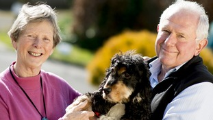 Dementia sufferer Gill Stoneham, pictured with her husband Bernard, uses the Mindme GPS locator.