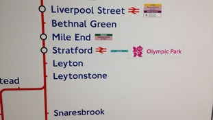 The Olympic Park tube sign at Stratford Station