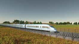 Promotional image of HS2 in countryside