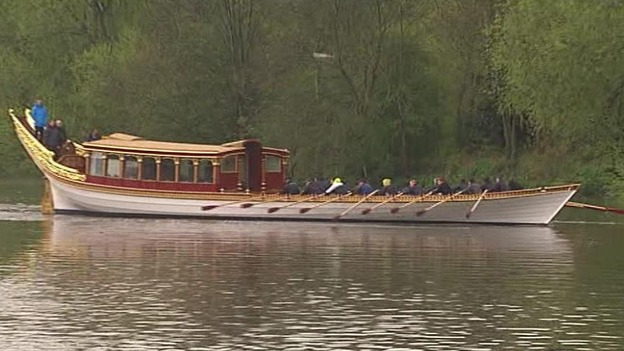 The royal row barge on the River Thames.