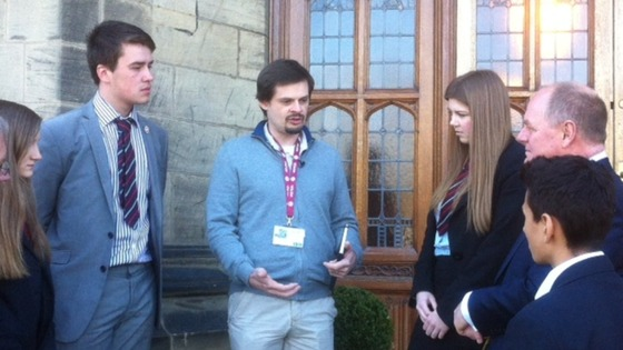Dylan Wilks chats to students and staff at his old school, Bradford Grammar.