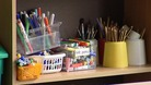 Stationery supplies in a classroom.