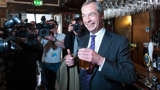UKIP leader Nigel Farage celebrating successful night in the local council elections last night
