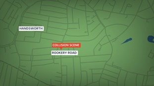 Map of collision in Rookery Road in Handsworth.