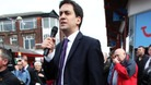 "Labour leader Ed Miliband giving a speech in Chorley explaining his ""One Nation vision"" last month."