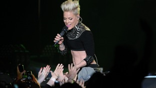 Pink performs on stage at the LG Arena, Birmingham. Picture date: Sunday April 21, 2013.