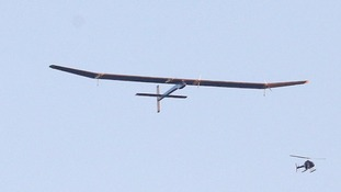The Solar-powered plane, which weighs around the same as a family car, takes off