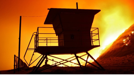A lifeguard tower stands on the beach at Point Mugu State Park in California.