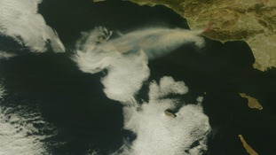 Smoke from the so-called Springs Fire raging on the California coast pictured from space.