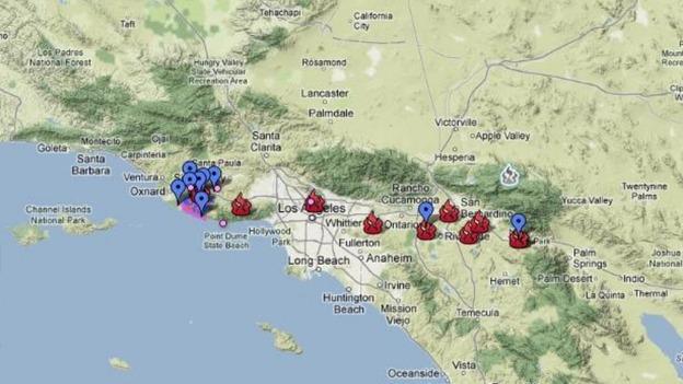 California ITV News - Us wildfires google map