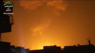 Explosion at what is said to be a weapons cache belonging to the Syrian airforce.