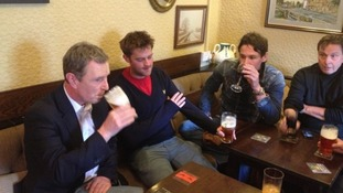 Conservative MP Nigel Evans at his local pub this morning.