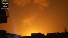 Explosion at what is said to be a weapons cache belonging to the Syrian airforce