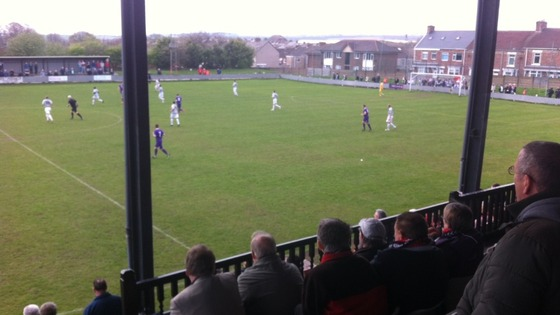 Spennymoor fans in the stands for the game against Shildon.