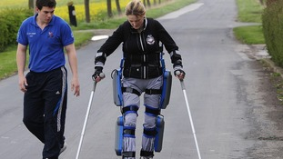Claire Lomas with physiotherapist Matt White