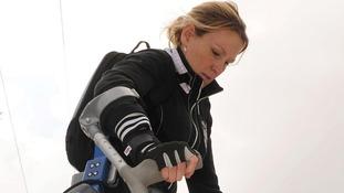 Claire Lomas trains for the London Marathon